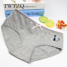 TWTZQ Hot Candy Color Sexy Female Underwear Women's Cotton Panties Cute Cat Bow Lady Breathable Underpants Girls Briefs 3NK095
