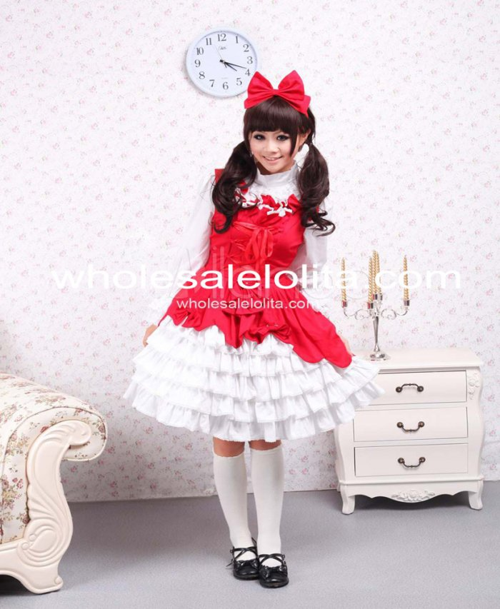 2014 Direct Selling Naturel Genou-longueur robe de Bal Slash Cou Sans Manches Top Vente Coton Sweet Lolita Robe Fille Fille de Gratuite