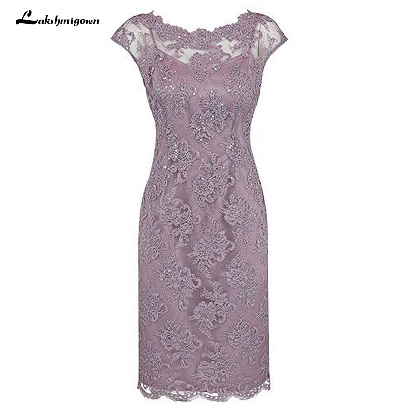 Sheath Bateau Cap Sleeves Grey Lace Mother Of The Bride Dress with Beading