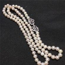 Новинка,, 8-9 мм, 60 см, белое ожерелье из натурального пресноводного жемчуга, длинная цепочка на свитер, модное ювелирное изделие