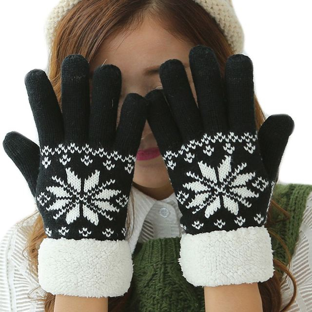 Womens Black Knit Gloves