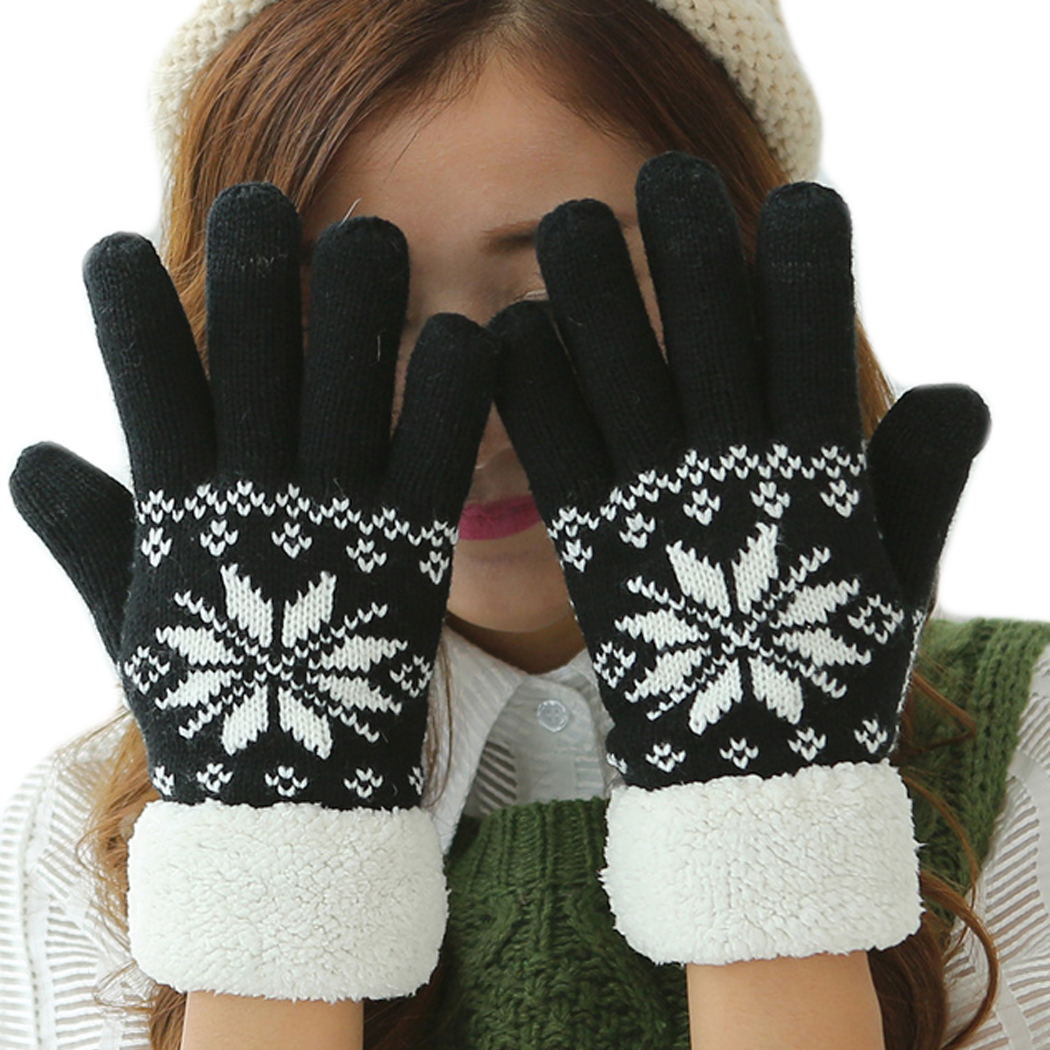 Wolle Gestrickte Fleece Handschuhe Frauen Touchscreen Schneeflocke Winter Handschuhe Ski Handschuhe Volle Finger Handschuhe Handschuhe Für Handy Luva