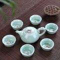 Longquan Seladon fisch tee set keramik teekanne wasserkocher keramik tee tasse fisch chinesischen kung fu tee set drink 1pot + 6 tassen-in Teegeschirr-Sets aus Heim und Garten bei