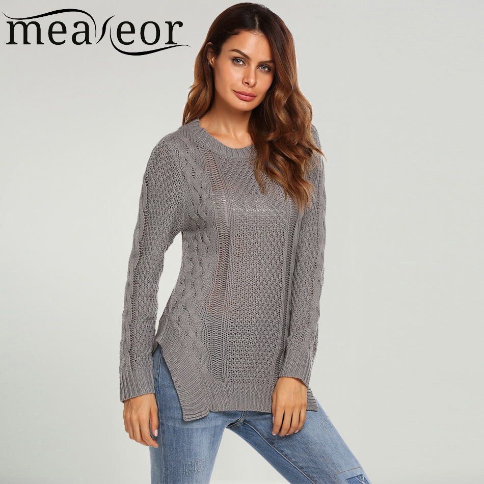 Meaneor Sweaters Jumper Women Ribbed Cable Knit Sweater Casual Korean Design Long Sleeve Asymmetrical Autumn Pullover Jumpers