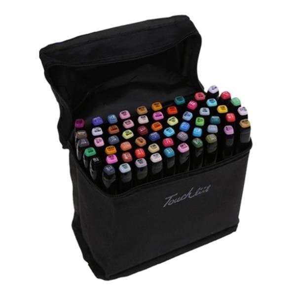 Touchfive 168 colors Double Headed Art copic markers set designers art marker pen Alcohol paint marker pen (5S, Black pole)