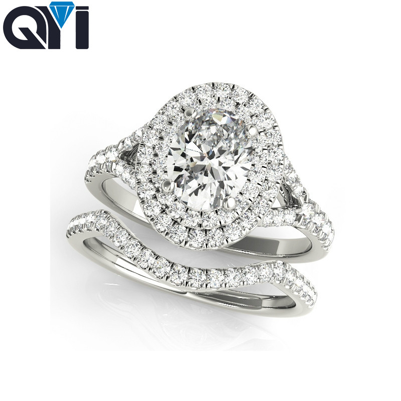 QYI engagement ring 925 sterling silver ring sets oval cut fine Jewelry wedding cubic zirconia rings for women bandQYI engagement ring 925 sterling silver ring sets oval cut fine Jewelry wedding cubic zirconia rings for women band