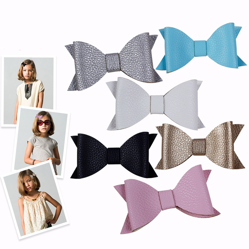 Hot Sale Girls Solid Children Synthetic Leather Hair Clips Fashion Grips Faux Bow Knot Trendy Artificial Butterfly Kids Hairpins