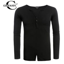 COOFANDY new fashion mens t shirt long sleeve V Neck Solid Slim Slit Hem Henley Shirt fitness casual cotton men clothing T-SHIRT(China)