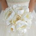 Новый Простой стиль, свадебный Кот букет, пион брошь жемчуг свадебный букет, элегантный Кот whitee моделирование пионы букеты