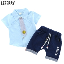 Fashion Kids Clothes Boys Baby Summer Set Print Shirt + Short Pants Toddler Boy Clothing Shorts 2017