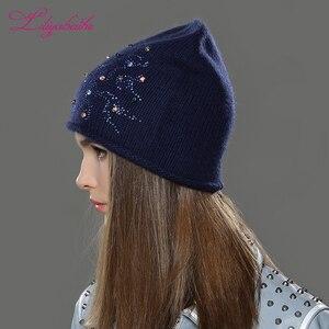 Image 4 - Liliyabaihe feminino outono e inverno chapéu angora malha skullies gorros boné clássico cor diamante decoração chapéus para meninas