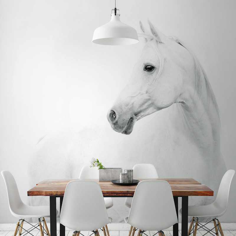 White Horse Animal Murals 3d Animal Wallpaper Papel Mural for Dinning Room Background 3d Wall Photo Murals Wall paper 3d Sticker custom 3d photo wallpaper mural nordic cartoon animals forests 3d background murals wall paper for chirdlen s room wall paper