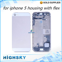 Replacement parts for iphone 5 full housing case metal alloy back cover+flex cable+buttons assembly 1 piece free shipping