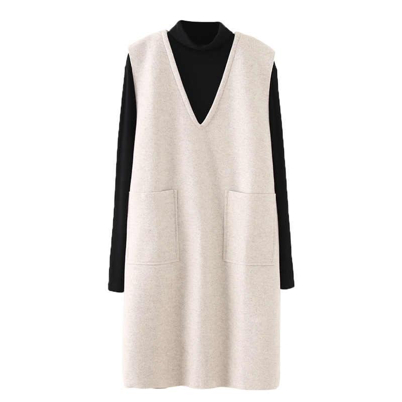 プラスサイズの女性固体冬ドレス 2019 新ツーピーススーツドレスアクリル V ネック毛深いドレスニットルーズスーツ