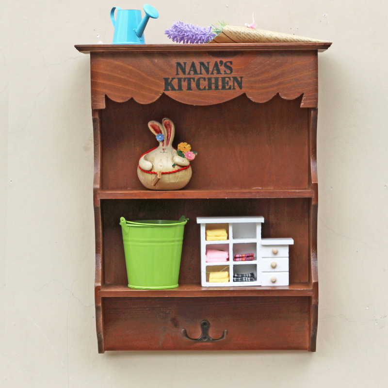 2017 Grocery Retro Wooden Household Storage Cabinet Vintage Shelf Wall Hanging Living Room Cabinet Wooden Storage Shelving