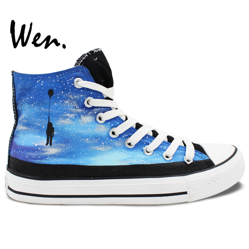 ФОТО Wen Design Custom Original Hand Painted Shoes the Galaxy Man Balloon Men Women's Unique Gifts High Top Canvas Sneakers