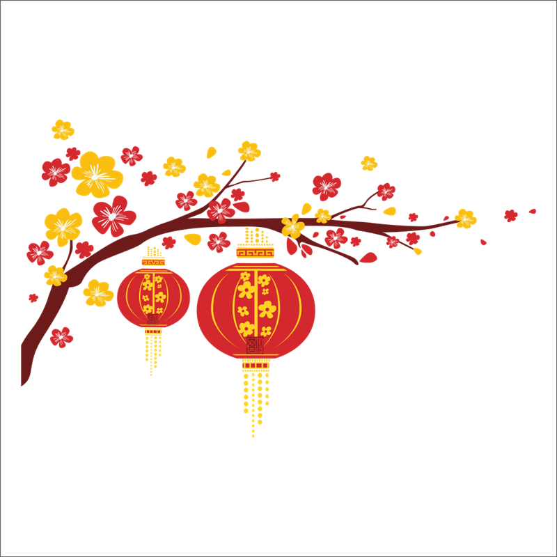 festive chinese new year red lantern peach flowers pvc wall art decals for living room home decor diy removeable stickers in wall stickers from home
