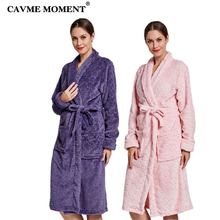 CAVME Croal Velvet Womens Kimono Bathrobe for Femme Ladies Winter Robe Long Night Dressing Gown Purple Pink CUSTOM Name