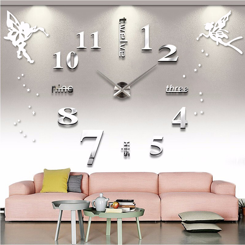 Arabic Numeral Digital Wall Clock Quartz Large Clock For Living Room 3D DIY Acrylic Mirror Wall Stickers Angel Big Clocks