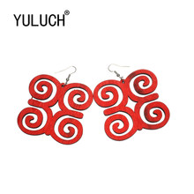 YULUCH Unique retro design natural wood hollow pendant earrings for women art party Valentine's Day gift lady photo earrings(China)
