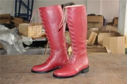 Aoud Saddley Paardrijden Laarzen Volledig Lederen Paardensport Laarzen Hoge Kwaliteit Terug Rits Schoenen Kleur Rood Schoenen Unisex Halsters