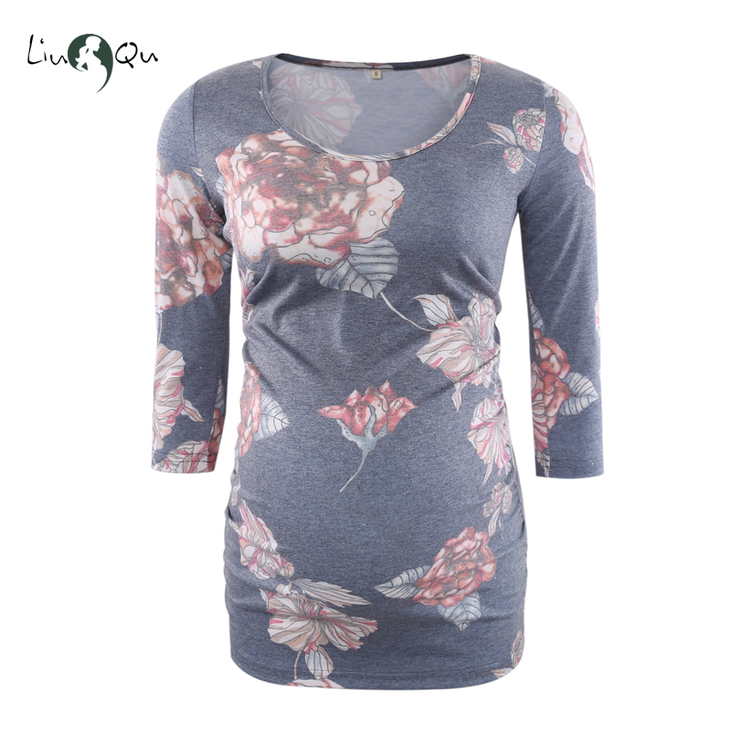 8ff49fd20e1c7 Floral Blouse Maternity Clothes Side Ruched 3 Quarter Sleeve Maternity  Vintage Flower Jersey Top Pregnancy Clothes Women Tops