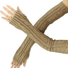 Fashion Winter Women Men Gloves Unisex Arm Warmer Long Fingerless knit Mitten