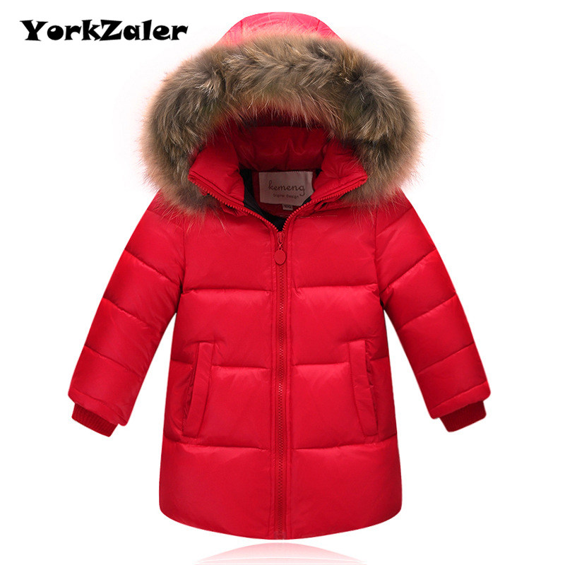 YorkZaler Winter Kids Down Jacket Outerwear Fashion Long Style Fur Collar Parkas Thicken Warm White Duck Down Coat Fit For 2-12Y