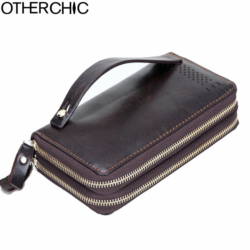 OTHERCHIC  Double Zipper Genuine Leather Men's Clutch Wallet Vintage Long Purse Men Wallets for Male Clutch Bag For Men17Y04-70 simline vintage genuine cow leather cowhide mens men long double zipper wallet purse wallets card holder clutch bag bags for man