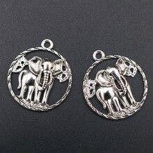 WKOUD 6pcs Antique Silver Hollow Circle Elephant Charm Vintage Necklace Bracelet DIY Metal Jewelry Alloy Pendants A1690