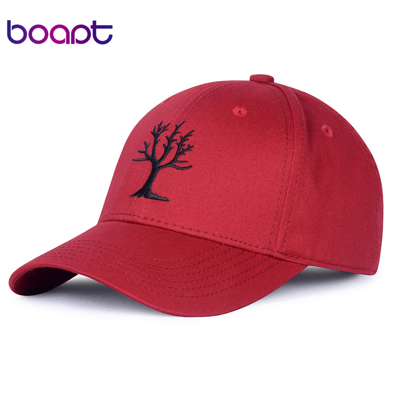 [boapt] tree of life pattern embroidery women's baseball caps men hats casual summer brand female cap snapback cotton dad hat brushed cotton twill ivy hat flat cap by decky brown
