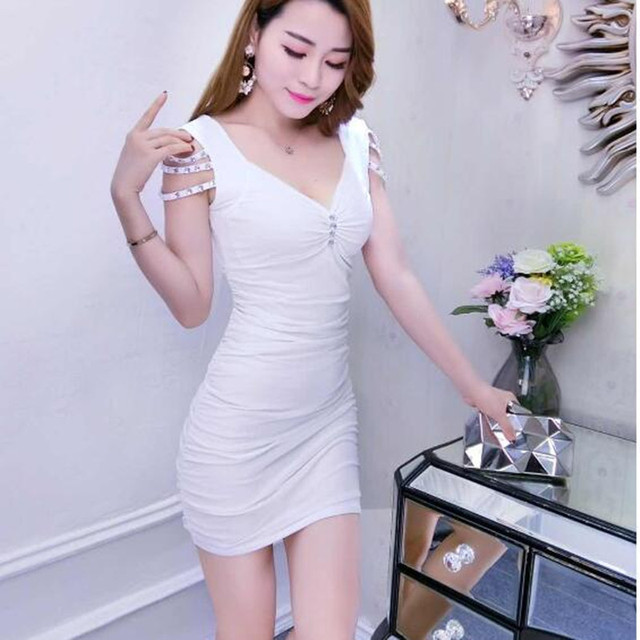 Women's New V-neck Sleeveless Solid Color Tight Dress