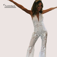 Fuedage Lace Rompers Long   Jumpsuit   2017 Women Summer Deep V Neck Sleeveless Femme Sexy Dot Hollow Out Beach Playsuit Overalls