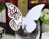 100 stks Hot Vlinder Papier Plaats Escorte Cup Kaart Wijnglas Kaart Papier voor Wedding Par Trouwbedankjes