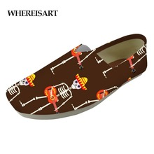 WHEREISART Personalized Men Print Flat Casual Shoes Loafers Lazy Students Slacker Dancing Skeletons