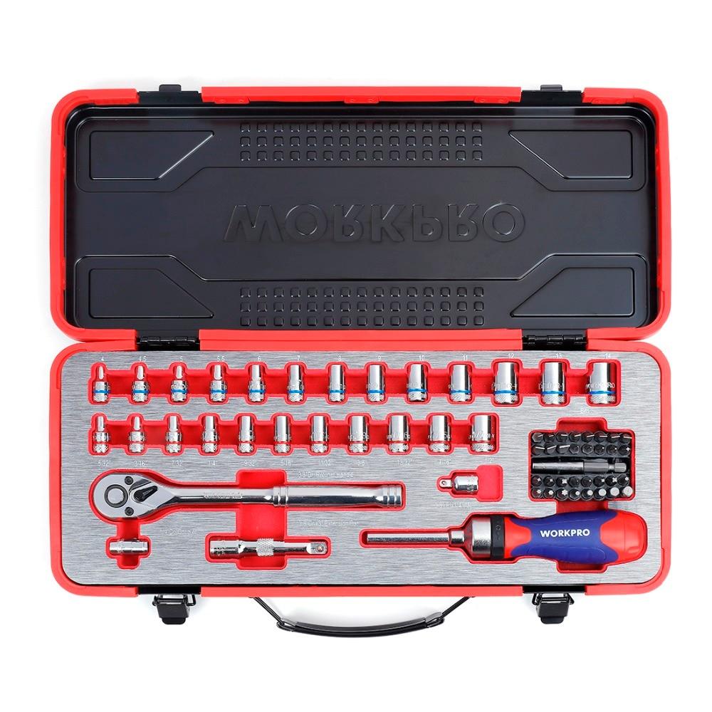 "Купить с кэшбэком WORKPRO 62PC Metal Box Tool Set Car Repair Tool Kits  Home Tools 1/4""  3/8"" Dr. Sokcet Set Ratchet Torque Wrench"