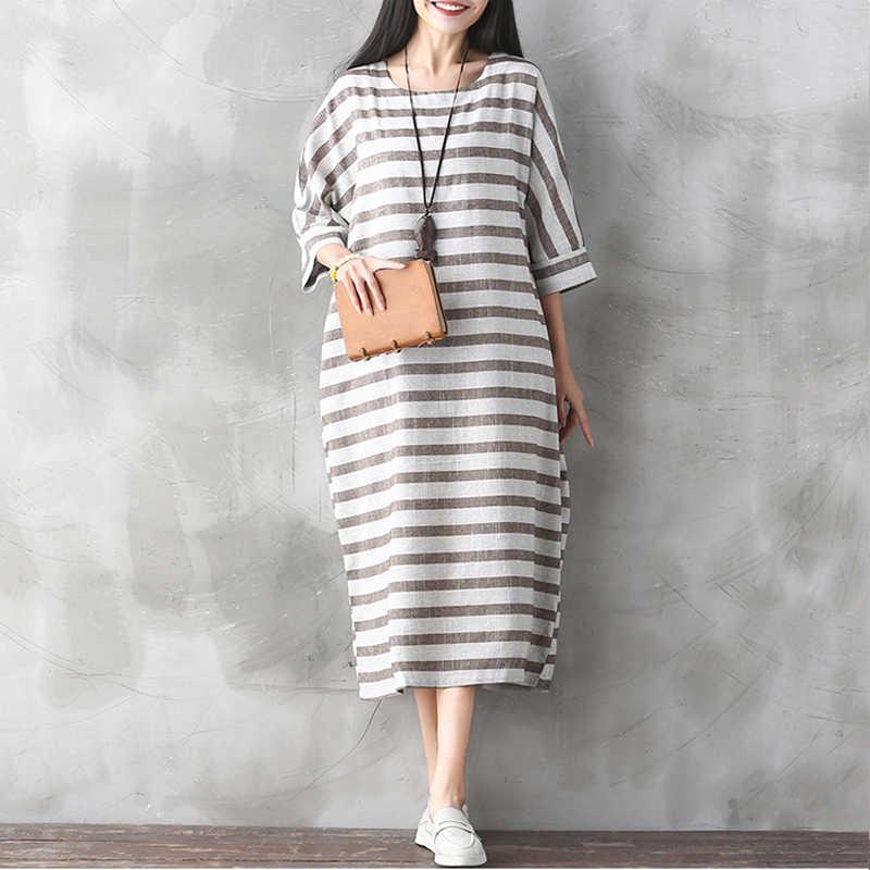 ... Женское платье в полоску с рукавами «летучая мышь» из хлопка и льна,  осень ... e36e8fd7a92