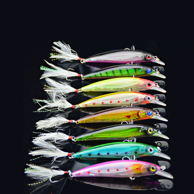 10PCS Minnow Wobblers Fishing Lure Lures Bait For Carp Tackle Peche Artificial Baits Fishhook With Feather 3D Eyes Sea Trolls minnow fishing lures crank bait bass tackle 6 hook 3d eyes 11cm 13 5g sea fishing tackle diving swivel jig wobbler lure