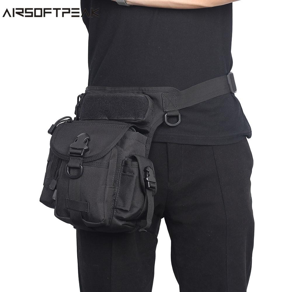 купить AIRSOFTPEAK Tactical Drop Leg Bag 1000D Nylon Waist Packs Military Thigh Packs Tool Bags For Motorcycle Outdoor Bike Cycling недорого