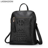 Multifunctional Real Leather Backpack Women Shoulder Bags Crocodile Pattern Women Backpacks Genuine Leather Bolsas Mochila