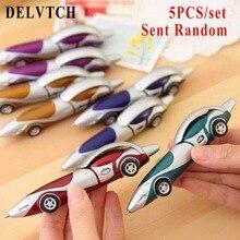 DELVTCH 5pcs/Set 1mm Blue Ink Car Bus Style Ballpoint Pen Creative Ball Pens Stationery Children Kid Gift School Office Supplies стоимость