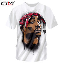 a00bd75e CJLM Men Casual Tshirts White Summer Top 3D Print Rap Stars Tupac 2Pac T- shirt Man Bodybuillding Fitness Undershirts Unisex Tees