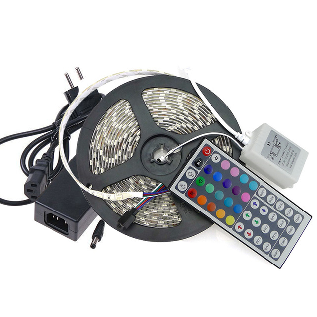 Waterproof RGB LED Strip 5M/Roll 60LED/M 72W LED Strips SMD5050  LED Bar Light 44Key IR Remote Controller Transformer included