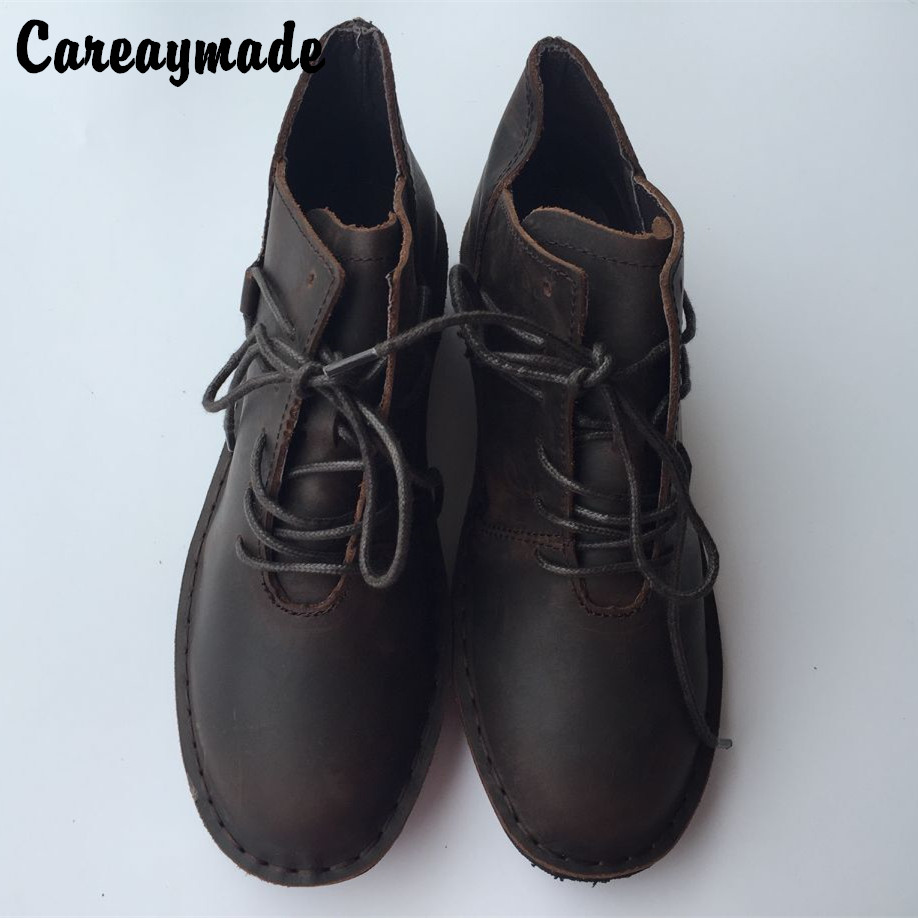 Careaymad-New 2017 Japanese Genuine leather pure handmade boots,the retro art mori girl shoes,Women's casual boots,2 colors huifengazurrcs new pure handmade casual