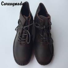 In early spring the new Japanese boots all-match leather shoes retro round wholesale manual comfort Pinson