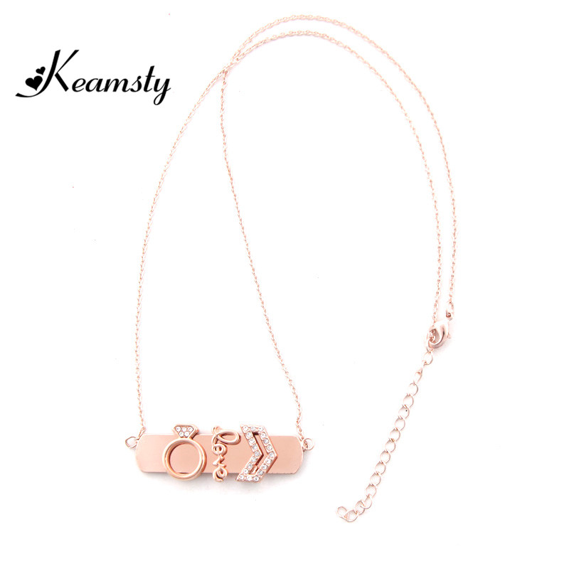 Keamsty New Design Rose Gold Zinc Alloy Keeper Horizontal Pendant with 3pcs Love Keeper Charms Women Necklace Set Jewelry
