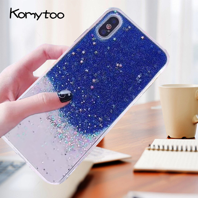 fb9bd5077b KOMYTOO TPU Phone Case For iPhone 7 7 Plus 8 8 Plus 6 Plus Gradient Star  Pattern Ultra Slim Soft Cover Phone Cases For iPhone X
