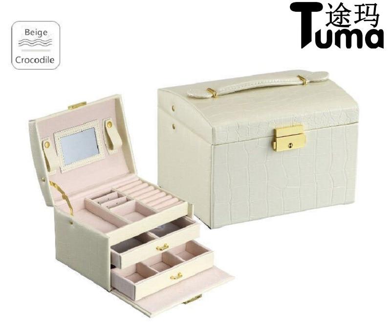ᗑEstilo princesa caja de joyería de cuero caja de cosméticos joya ...