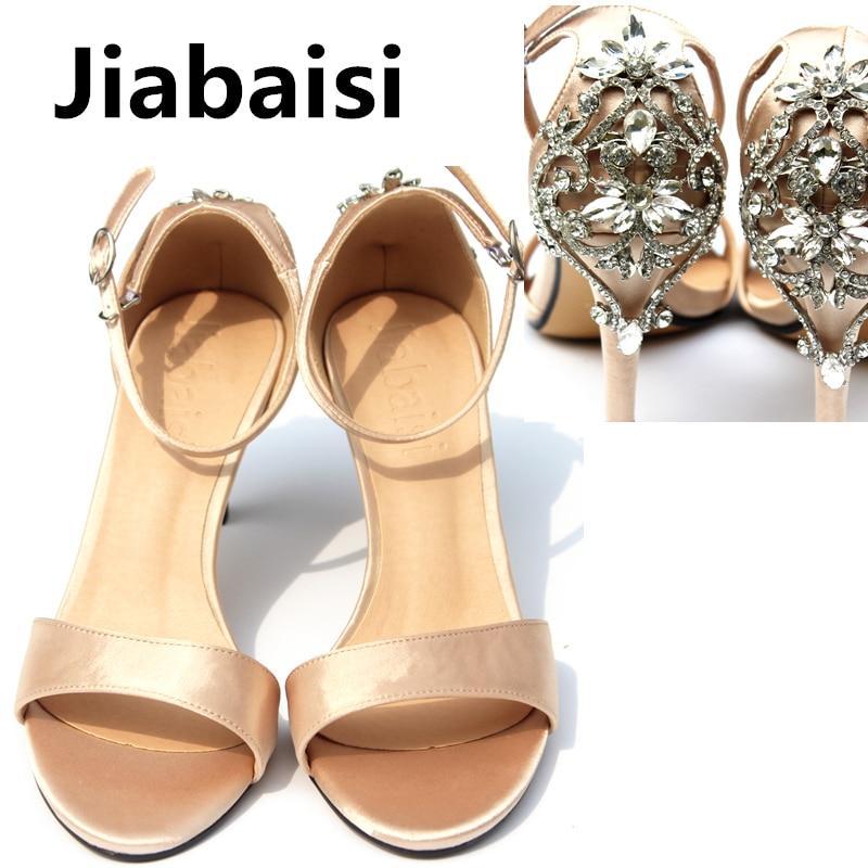 Jiabaisi Shoes Women's Luxury Diamonds Satin 4Inch Heels Dazzling Wedding Party Shoes Large Size Classics Women's Heel Sandals