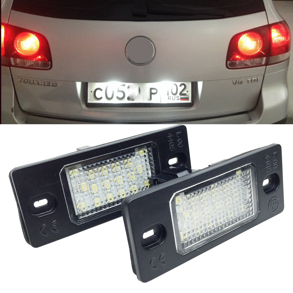 цена на 2pcs 18 LED Number License Plate LED Light Lamp For Porsche Cayenne VW GOLF 5 Touareg Triple Canbus Auto Tail Lighting Source